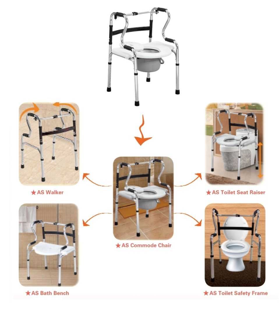 Multifunctional Chair, 6-in-1 mobility aid