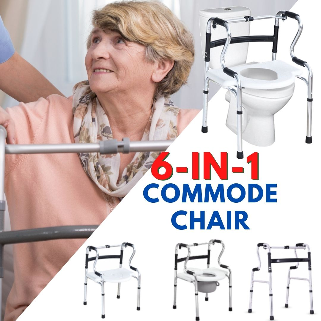 Multifunctional toilet frame and commode