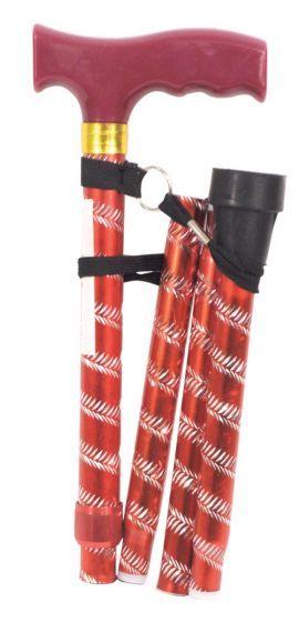 Folding walking cane red Aidapt